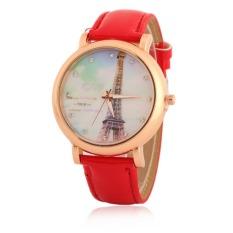 New Design Women Rhinestone Watches Luxury Crystal The Tower Watch Fashion Quartz Wristwatches (Red)