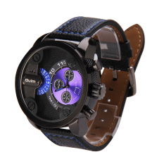New Fashion Genuine Leather Band Double Movement Oulm Men Watch (Intl)