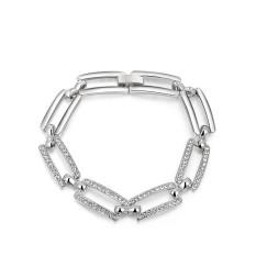 New Fashion Rectangle Frame Platinum Plated Women Girls Wedding Gift Jewelry Bangle / Bracelet (Platinum Color)