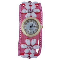 New Flower Leopard Chain Multilayer Leather Crystal Bracelet Quartz Women Casual Relogio Feminino Wrist Watch Pink (Intl)