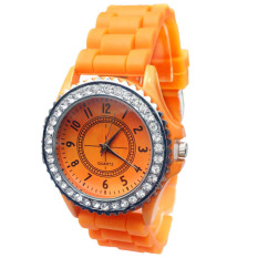 New Geneva Silicone Golden Quartz Men / Boy / Lady / Women / Girl Jelly Wrist Watch Orange (Intl)