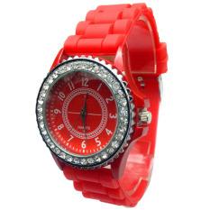 New Geneva Silicone Golden Quartz Men / Boy / Lady / Women / Girl Jelly Wrist Watch Red (Intl)