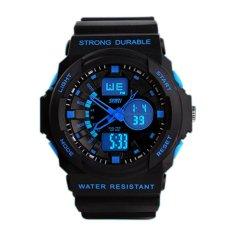 2015 New Hoplastic Digital Racing Women Sports Watches Multifunction Rubber Strap Relogio Masculino Women'S Watches Waterproof Blue (Intl)