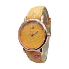 NEW HOT SALE! Korean Style Multi-Color Flower Print Ladies Wrist Watches Faux Leather Band (Green) (Intl)