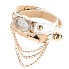New Leather Star Bracelet Wristwatch Women Chain Hot Wirst Watch (White) (Intl)