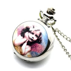 New Mini Fashion Punk Flower Lovely Angel Wings Pattern Necklace Pocket Watch (Intl)