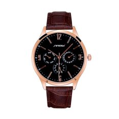New SINOBI Men's Fashion Leather Watch Roman Numerals 3 Small Round Silver Dial Analog Wrist Watch For Men