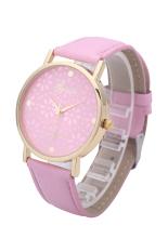 New Style Geneva Chrysanthemum Hollow Dial Women Flowers Analog Leather Band Quartz Wrist Watches (Pink)