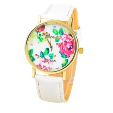 New Style Geneva Woman Analog Quartz Watch Flower Face Style Leather Band (White)