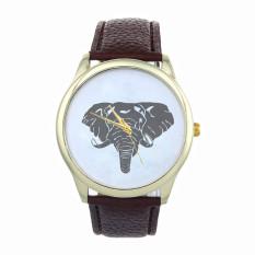 New Women Elephant Printing Pattern Weaved Leather Quartz Dial Watch (Brown) (Intl)