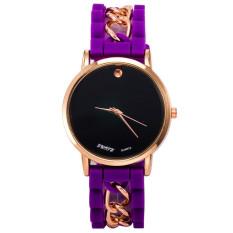New Women Girl Watch Silicone Simple Numerals Quartz Wrist Watches Purple (Intl)