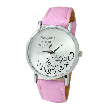 New Women Leather Watch Who Cares I Am Late Anyway Letter Watches Pink