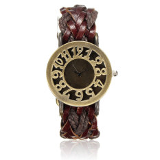 New Women's Vintage Wrap Braided Faux Leather Analog Quartz Bracelet Wrist Watch Brown - Intl