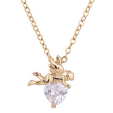 NiceEshop 18K Yellow Gold Plated White Rhinestone Elfin Hug Stone Pendant Necklace For Women