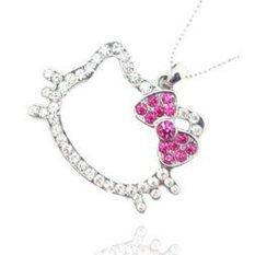 NiceEshop Cute Lovely Head Bowknot Full Rhinestone Figure Bead Chain Necklace Pendant (Pink)