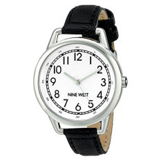 Nine West Women's NW / 1699WTBK Easy To Read Watch With Black Strap (Intl)