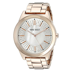 Nine West Women's NW / 1742WMRG Crystal Accented Rose Gold-Tone Bracelet Watch (Intl)