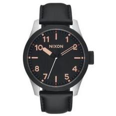 NIXON Safari Leather Black / Rosegold Jam Tangan Pria A9752051 - Leather - Black