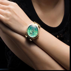 Nonof Best Charm SMAYS Watches Female Korean Fashion Lady Watch Quartz Female Watch Waterproof Pointer 1301 B Section Green Gold Plate Frame With Gold