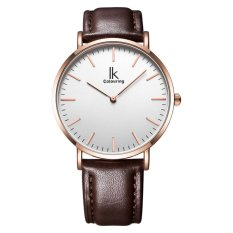 nonvoful IK colouring Ultra Thin Minimalist Mens Watches Top Brand Luxury Genuine Leather Strap Fashion Casual Quartz Watch Business Man (Brown)