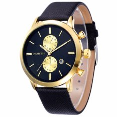 North Jam Tangan Pria Fashion Casual Waterproof Date Leather Men Watch - Black Gold