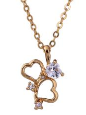 Oanda 18K Yellow Gold Plated White Rhinestone Double Heart Pendant Necklace For Women
