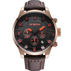 OCHSTIN GQ049 Genuine Leather Strap Steel Case Sport Man Chronograph Wrist Quartz Watch
