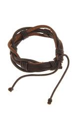 OEM Men's Hemp Surfer Wristband Genuine Leather Bracelet (Brown / Black)