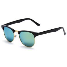 OH Women Men Cat Eye Retro Vintage Half Frame Metal Sunglasses Eye Glasses Black & Gold (Intl)