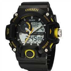 OHSEN 401 Men's Movement 50 Meters Waterproof Silicone Strap Double Movement LED Watch (Yellow) - Intl