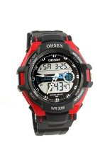 OHSEN AD1302 Waterproof Men's Boys Dual Time Display LCD Digital Quartz Sports Watch with Stopwatch / Date / Alarm / EL Backlight Red