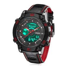 OHSEN Brand Digital Quartz Mens Red Fashion Sport Wristwatch Watches Leather Strap Alarm Date LCD Waterproof Watch Male Gifts