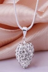Okdeals Crystal Heart 925 Silver Plated Snake Chain Pendant Necklace White