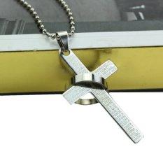 Okdeals Fashion Unisex's Men Ring Blue Titanium Steel Cross Bible Pendant Necklace Silver