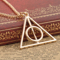 Okdeals Film Movie Harry Potter Deathly Hallows Metal Necklace Pendant Gold