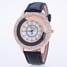 Okdeals Women Stunning Round Crystal Dial Quartz Analog Leather Bracelet Wrist Watch Black (Intl)