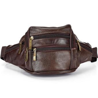 Olahraga luar ruangan tas pinggang pria kulit asli ukuran 18 cm x 12 cm x 9