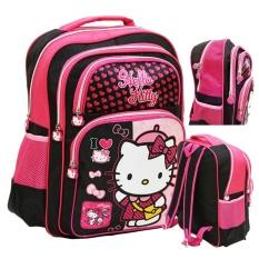 Onlan Hello Kitty Tas Ransel Anak Ukuran SD ada 4 Kantung Besar - Pink Fanta