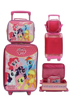 Onlan Set Koper dan Lunch Bag Anak Bahan Sponge Tahan Air Gambar Little Pony - Pink