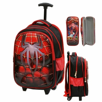 Onlan Tas Trolley Anak SD Import Motif 6D Soft Hard Cover Timbul + Kotak Pensil Timbul - Red