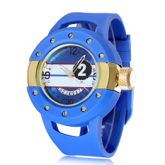 2015 Hot Sale Sport Watches Men Watch Silicone Wristwatches Wholesale Fashion Casual Clocks (Blue Gold) (Intl)