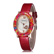 JIANGYUYAN 2015 Wholesale Women Watches Leather Strap Watch Fashion Casual Ladies Wristwatch Free Shipping (Red) (Intl)
