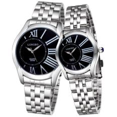 JIANGYUYAN Fashion Roman Number Lovers' Watch Women Men Full Steel Band Quartz Wristwatches LONGBO Brand (Silver Black Male) (Intl)
