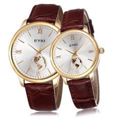 Genuine Leather Strap Watch Women Men EYKI Brand Lovers' Watches Luxury Fashion Roman Number Wristwatches (Coffee White Women) (Intl)
