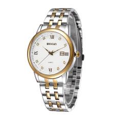JIANGYUYAN Luxury Brand WEIQIN Watch Men Full Stainless Steel Watches Wristwatches Calendar Rhinestones Roman Number Watch (GoldWhite with Box) (Intl)