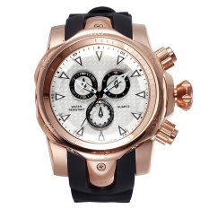 Military Watches Men New Brand Fashion Sport Watch Silicone Quartz Wristwatch 2015 Hot Sale (White Rose Gold) (Intl)