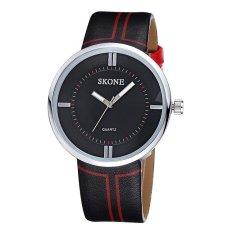 JIANGYUYAN SKONE Luxury Brand Big Dial Leather Watches Men Sport Business Quartz Wirstwatch Fashion Casual Military Cool Watch Hour Relogio (Black Black) (Intl)