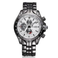 JIANGYUYAN SKONE Relogios Masculinos 2015 Luxury Brand Date Watch Men Luminous Fashion Watch Quartz Business Casual Full Steel Wristwatch (Black White) (Intl)