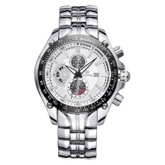 JIANGYUYAN SKONE Relogios Masculinos 2015 Luxury Brand Date Watch Men Luminous Fashion Watch Quartz Business Casual Full Steel Wristwatch (Silver White) (Intl)