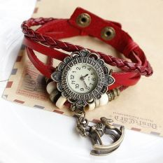 JIANGYUYAN Free Shipping Wholesale Dropship Hot Sale Fashion Braided Handmade Cartoon Hobbyhorse Sunflower Quartz Watch Ladies Bracelet (Red) (Intl)